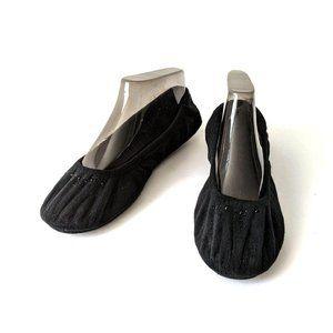 Dearfoams Black Velour Embellished Slippers 11-12